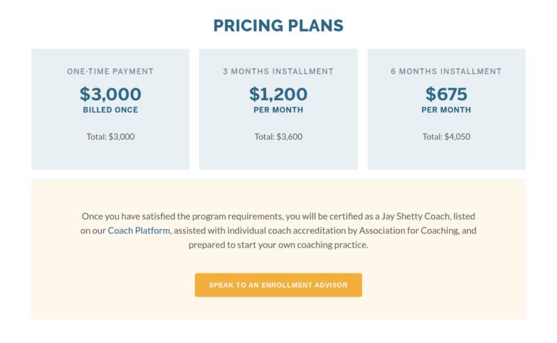 Jay Shetty Certification Cost